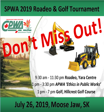 Win a trip to PWX Backhoe & Mini Excavator Competition in Seattle -  Attend an educational session, 'Ethics in Public Works' -  Have fun & network at our SPWA Golf Tournament